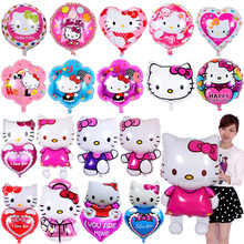 Any Style Cartoon Hello Kitty Cat foil balloons Baby Girl Birthday Wedding Decoration Supplies Globos Party Inflatable Air Balls(China)