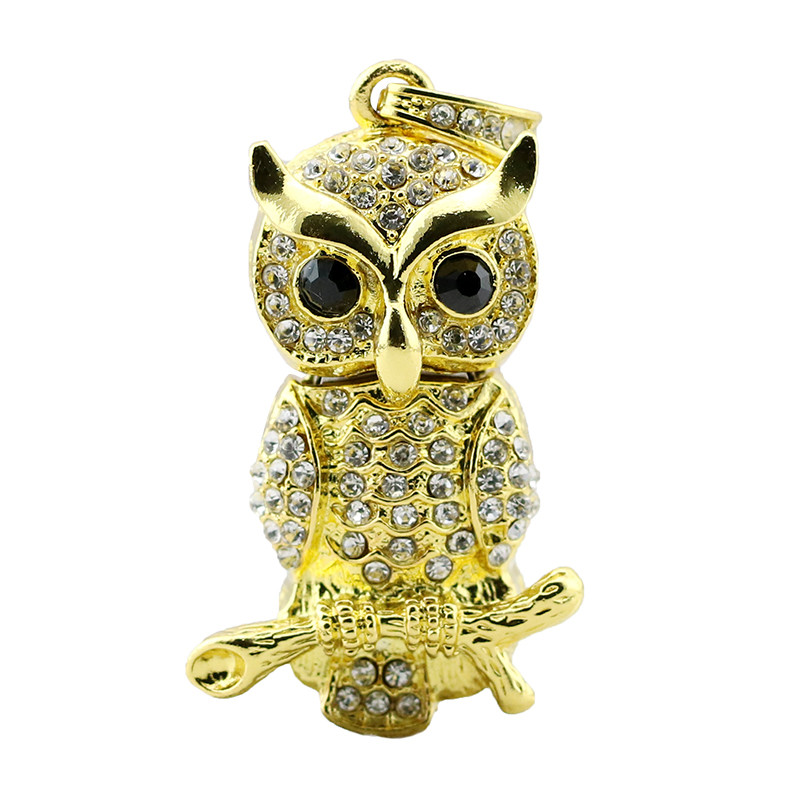 Animal USB Flash Drive Metal Diamond Owl Pendrive Nighthawk Pen Drive 4GB 8GB 16GB 32GB 64GB USB Memory Stick Gift With Necklace 22