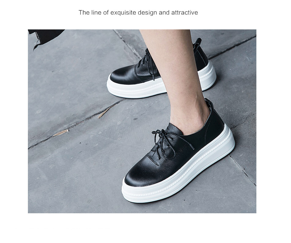 Donna-in Women Flats Shoes Platform Sneakers Shoes Genuine Leather Spring Fashion Sneakers Creepers Lace-up Comfortable Shoes (12)