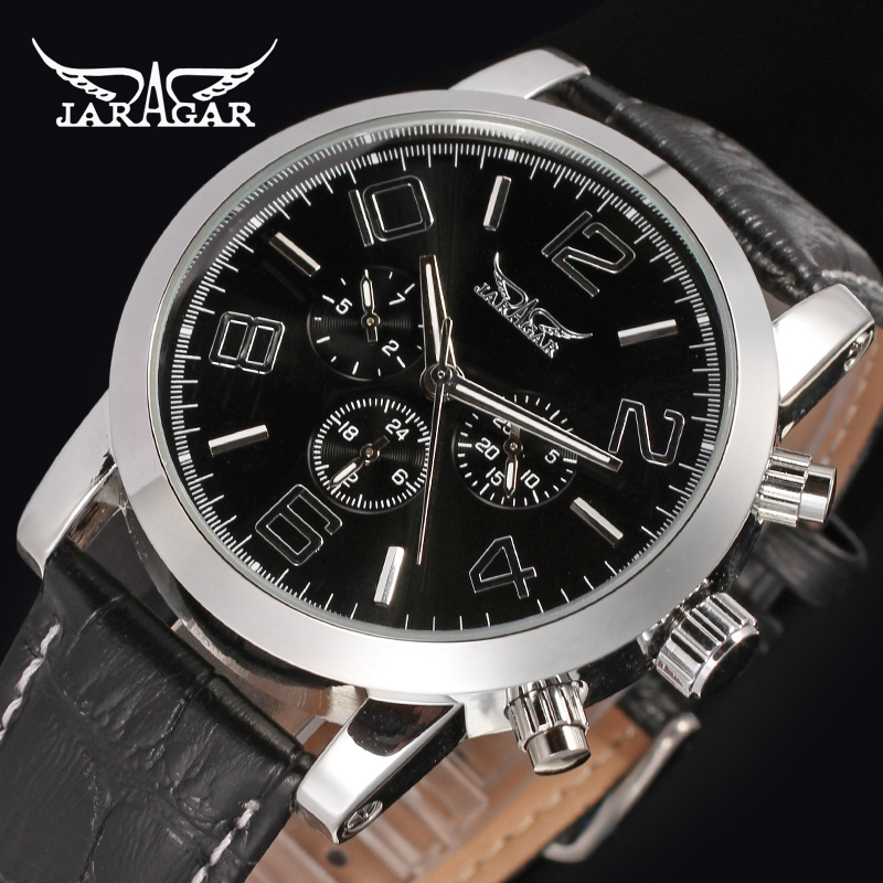 JARAGAR Men Luxury Tourbillion Automatic Mechanical Watch Big Number Leather WristWatch Gift Box Relogio Releges 2017 New<br><br>Aliexpress