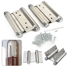 "Mayitr 2pcs 4"" Inch Double Hinge Cabinet Drawer Stainless Steel Swing Door Hinges With Screws Hand Tools Furniture Hardware"