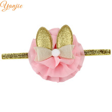 Infantile Girls Shabby Chiffon Flower Gold Elastic Headband For Kids 2017 Rabbit Ears Hair Bow Headbands Hair Accessories(China)
