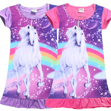 Kids Dressing Gowns Unicorn Girl Pijamas Kids Girl Polyester Toddlers Nightgowns Dress Summer Short Sleeve Infantil Sleepwear