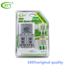 Free shipping Cheaper BTY 802 1.2V AA 4*3000 Rechargeable Ni-MH Battery + BTY-802 AA/AAA Battery charger With Packing Case(China)