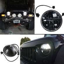 Jeeps Wrangler Headlights 7 Inch Round LED Headlight Conversion Kit DLR Light Assembly For JK TJ FJ Hummer Motorcycle Headlamp