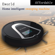 Eworld Mini Robot Vacuum Cleaner, Smart Robotic Cleaner for Home(Black Color) with Automatic Recharge, 2 Side Brushes(China)