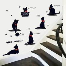 Lovely 6 Black Cats Stickers Living Room Decor TV Wall Decor Child Bedroom Vinyl Wall Stickers Free Shipping