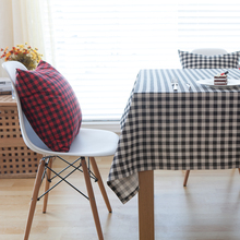 Cotton Linen Table Cloth Red Black White Checked Two Colors Garden Style Rectangular Tablecloth on the Table Coffee Table Cover