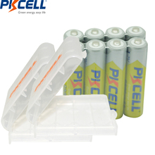 8Pcs PKCELL Ni-MH 1000mAh 1.2V AAA Rechargeable Battery Baterias AND 2Pcs Battery Hold Case Box For Camera Flashlight Toy