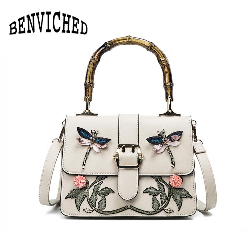 BENVICHED 2018 Fashion Bamboo Handbag Embroidery Shoulder bag Women Crossbody Bag Luxury handbags women bags designer L059<br>