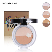 KAN 3 Color Contour Palette Highlighter Makeup Bronzer Powder Mineral Makeup 3D Face Pressed Shading Powder With Puff & Mirror