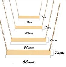 Personalized nameplate Gold color necklace custome name bar necklace free engrave stainless steel Jewelry for women