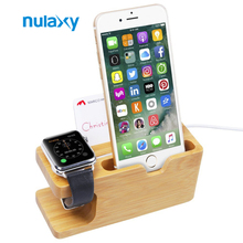 Nulaxy Newest Bamboo Holder Stand for Apple Watch Dock Cradle Charging Station Holder For iPhone 7 iPhone 6 6s se 5 5s
