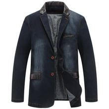Casual Denim Blazer Men Brand Fashion Style Leather Patchwork Jeans Jacket Business Men's Suit blazer masculino Plus Size 4XL