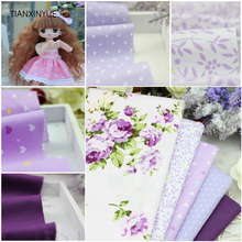 5 pcs Purple 100% Cotton Fabric DIY Sewing Patchwork kids Bedding Bags Tilda Doll Love Baby Cloth home Textiles Fabric 40*50cm