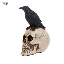 BUF Resin Craft Statues Human Skull Head With Crow Creative Skull Figurines Sculpture Ornament Home Decoration Accessories