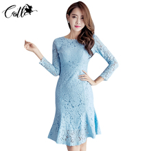 2017 Womens Elegant Vintage Autumn Mermaid Sexy Lace Dresses Work Office Business Casual Party Hollow Out Fitted Bodycon Dress