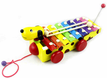 Early childhood small brown dog octave piano knock wooden musical toys can drag hand knocks scale 8 1-3 years