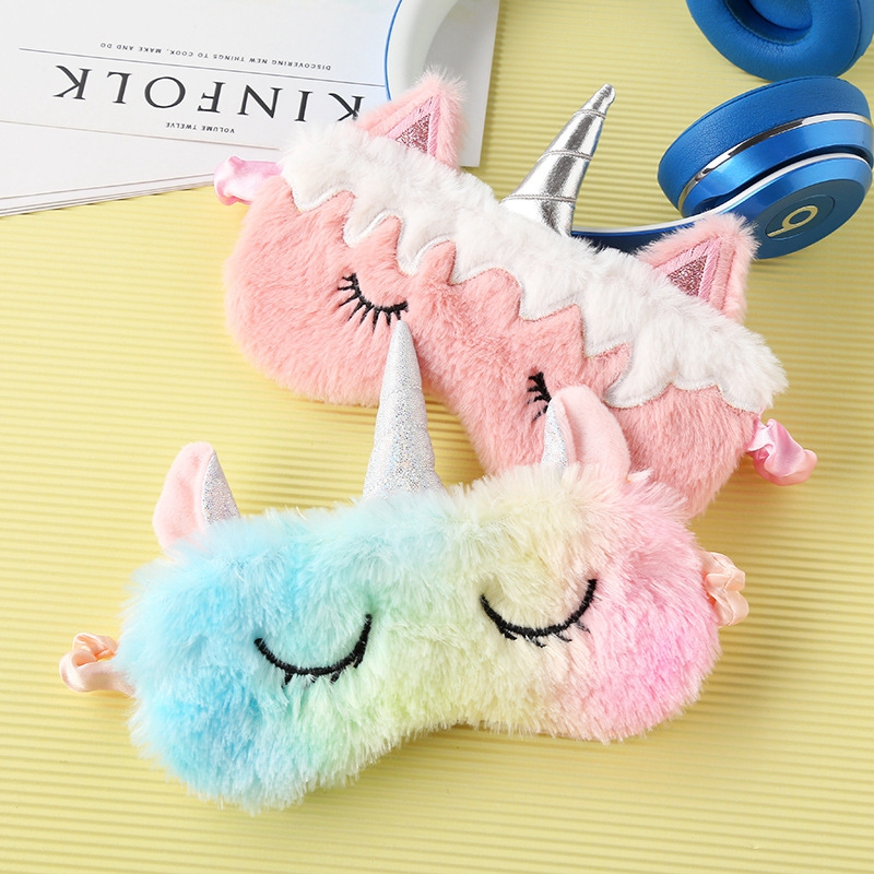 Best selling travel family party supplies colorful plush cute pony unicorn shape eye mask cute face shading health  sleep   mask