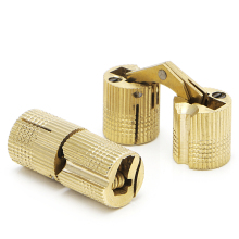 4 Pcs 14mm Brass Barrel Cabinet Cylindrical Hidden Concealed Invisible Hinge #S018Y# High Quality(China)