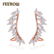 FEEHOW Popular Zircon Angel Wings Earrings Jackets CZ Rose Gold Color Earrings Jewelry For Women Girl Christmas Gift FWEP664(China)