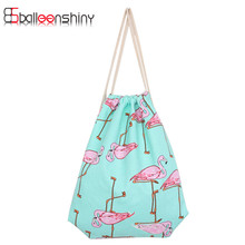 Portable Flamingo Shape Makeup Cosmetic Storage Bags Travel Clothes Sundries Organizer Drawstring Handbag Backpack Storage Tools