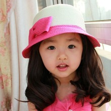 China Style 5 Colors Toddler Summer Baby Girl Kids Bowknot Straw Sun Hats Children Beach Cap 3-7Y