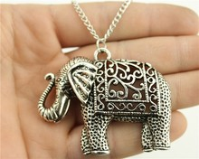 WYSIWYG Fashion Antique Silver Color 59*47mm Elephant Pendant Necklace, 70Cm Chain Long Necklace(China)