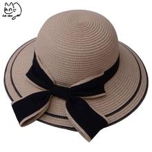 Sun caps Ribbon Round Flat Top Straw beach hat Panama Hat summer hats for  women Bow 3f4ffe9f8b78