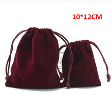 Wholesale10*12 cm Velvet Drawstring Pouch Bag Jewelry Packaging Bag,black/red Christmas/Wedding Gift Bag,jewelry box,20pcs/lot