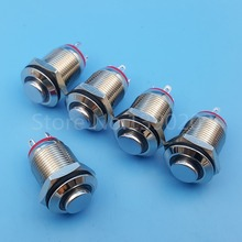 5Pcs 12mm Red 3V LED Metal Momentary Mini Push Button Switch 1NO 4Pin
