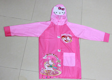 (5 Pcs/Lot) With Backpack Waterproof Holder Lovely Hello Kitty Girl's Raincoat For Children(China)