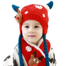 Children Winter Warm Knitting Hat + Scarf Set Kids Boys Girls Crochet Cover Ear Cap Xmas Deer Pattern