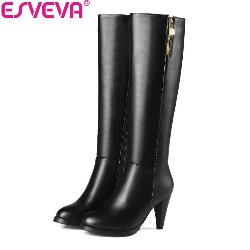 ESVEVA 2018 Women Boots Round Toe Western Style Spike High Heel Knee-high Boots Zippers Elegant Ladies Solid Boots Size 34-43<br>