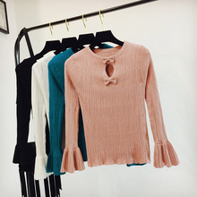 2017 Autumn New Fashion Women Clean Color Flare Sleeve Hollow Out Bow Slim Knit Sweater(China)
