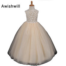 Real Photo Beige Girls Wedding Party Dresses Ball Gown Lovely Flower Girl Dress 2018 Long Baby Girl Toddler Pageant Gowns(China)