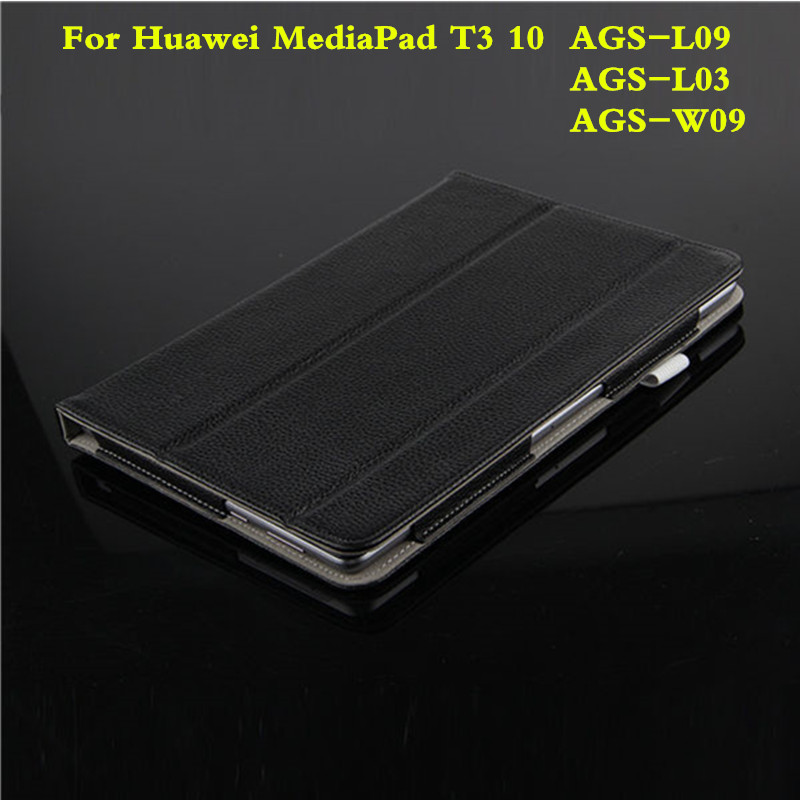 Business With Magnetic Premium Genuine leather Stand Cover Case For Huawei MediaPad T3 10 AGS-L09 AGS-L03 AGS-W09 9.6 Tablet<br>