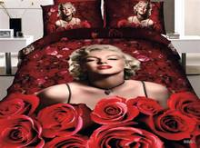 3D Marilyn Monroe bedding  set red rose print queen size bedspread duvet cover brand bed in a bag sheets quilts linen cotton