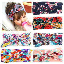 2017 Baby Girls Floral Headband Boys Bow Knot Hairbands Kids Rabbit Ears Hair Bands Children Flowers Headwear Hair Accessories