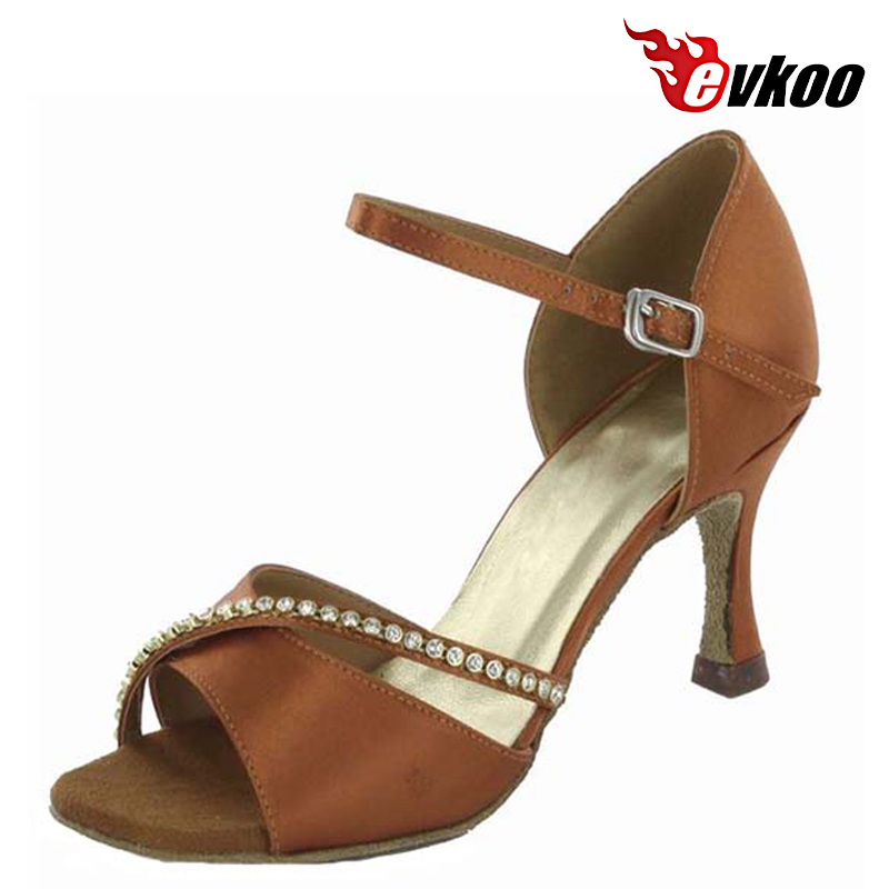 Evkoo Dance Brand Satin With Diamond Special Design Latin Shoes Woman With Middle 7cm Heel Evkoo-239<br>