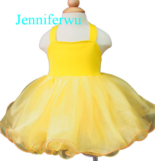 yellow solid color baby cloths flower girl dress  baby  girl pageant and party dress 1T-6T G128-2<br>