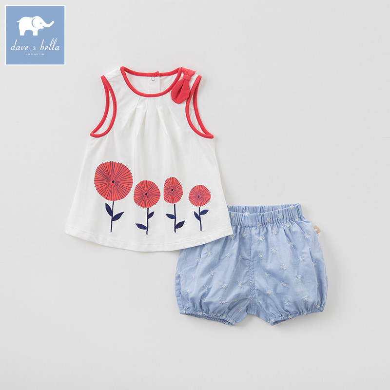 Dave bella summer baby sleeveless clothing sets children lovely suits toddler infant high quality clothes girls outfit  DBA6606