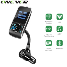 Onever FM Transmitter Bluetooth Car Wireless Handsfree Kit Radio Modulator Car MP3 Player USB Charger Support Micro TF Card 32G(China)