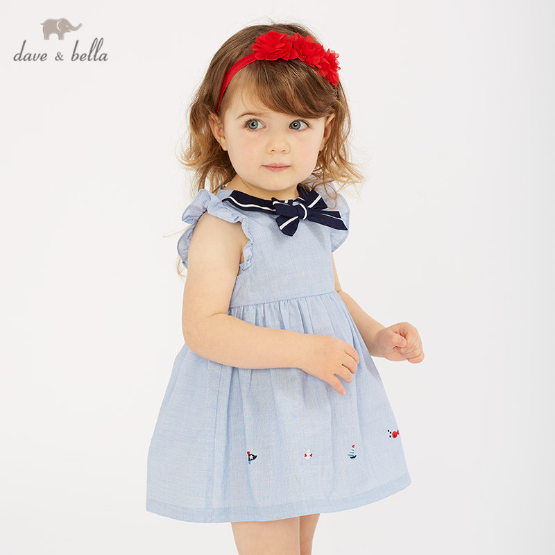 DBM10597 dave bella summer baby girl's princess cute bows solid dress children fashion party dress kids infant lolita clothes