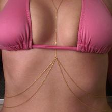 Sexy  Beach Bikini Fashion Body Chain Double Layer Waist Chain Silver Gold Color Body Jewelry Body-001637