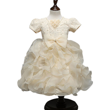 Baby girl dress champagne little girl wedding dress party ball grown dresses cute robe de mariage vestido bebe vestido infantil