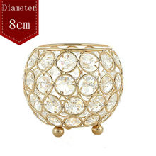 Crystal Silver/Gold Metal Candle Holder Stand Diameter 8cm Crystal Ball Table Candelabra Centerpiece For Home Wedding Decoration
