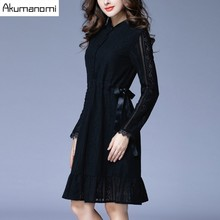 Autumn Winter Lace Dress Mandarin Collar Full Sleeves Draw String Waist Ruffles Hem Black Women's Clothes Spring Dress Plus Size(China)