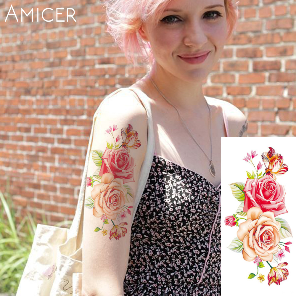 3D lifelike Cherry blossoms rose big flowers Waterproof Temporary tattoos women flash tattoo arm shoulder tattoo stickers 21