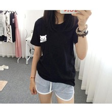 Casual Summer Couple Plain Tops Pullover Short Sleeve O-neck Pocket Cat Print T-shirt